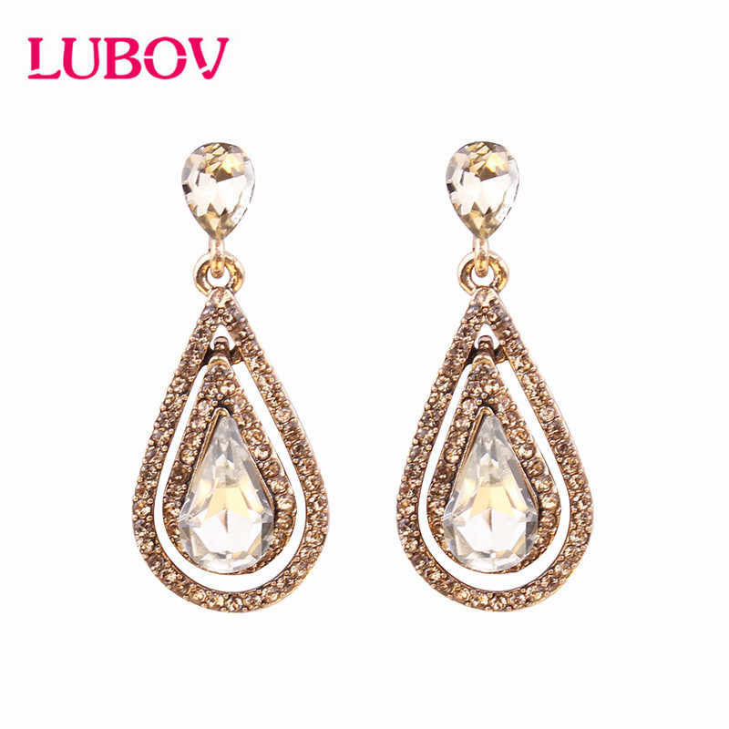 LUBOV 5 Colors Crystal Lace Anti Golden Metal Chain Dangle Earrings Women Personality Statement Drop Earrings Christmas Gift