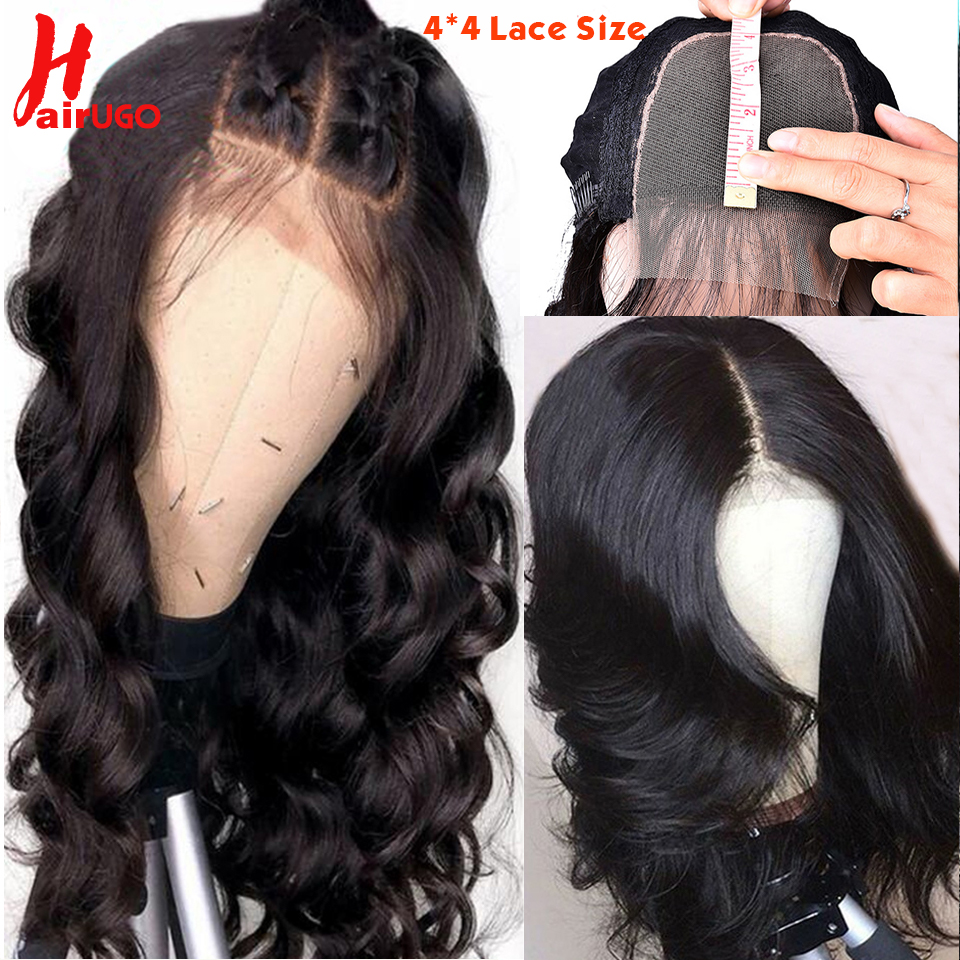 HairUgo Human Hair Wigs Brazilian Body Wave Wig 4*4 Lace Closure Wig Remy Lace Wigs Pre Plucked Hairline Natural Baby Hair