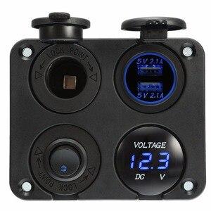 Двойное зарядное устройство USB 2,1 А + 2,1 А + 12 В, розетка питания + переключатель без выключения + светодиодный вольтметр 4 в 1, панель зарядного у...