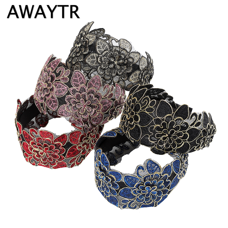 AWAYTR New Hollow Flower Embroidered Headband For Women Hairband Extra Wide Lace Hair Loop Retro Ladies Hair Accessories