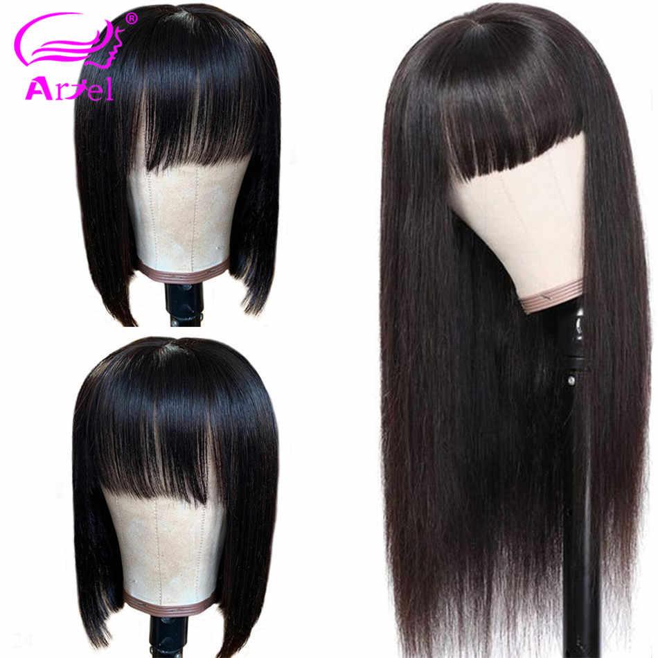 Cabelo curto perucas frontal, cabelo humano para mulheres pré selecionado com cabelo novo bob peruca de renda transparente