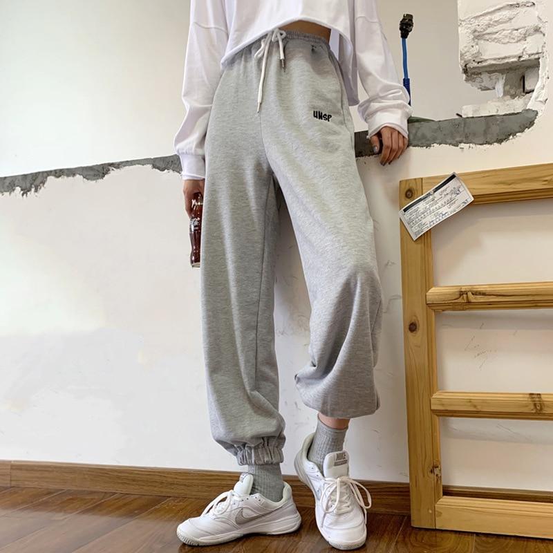 Sport Pants Cotton Joggers For Women Elastic Waist Casual Trousers Wide Pants Female Streetwear Loose Hip Hop Trouser Sweatpants