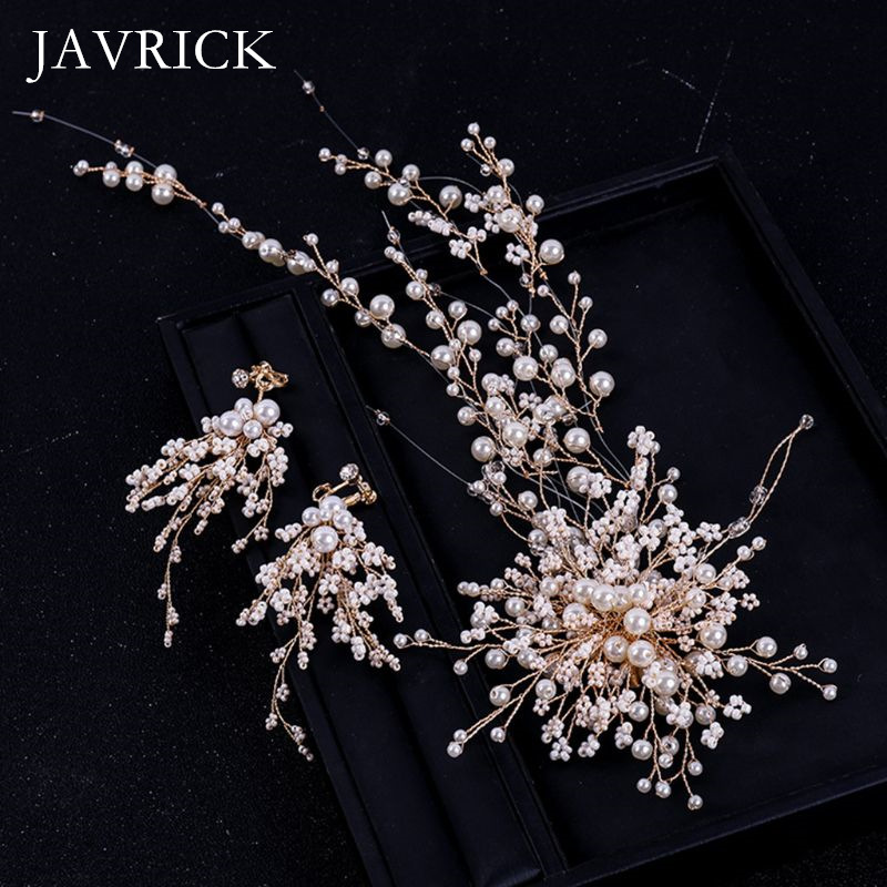Hair-Band Earrings-Set Wedding-Dress-Accessories Pearl Bride Artificial Fashion 3pcs/Set