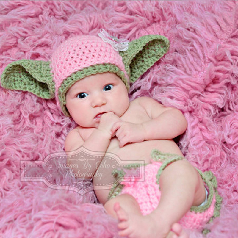 Pink Yoda Outfits Crochet Baby Yoda Costume Newborn Baby Yoda Photography Props Knitted Cartoon Clothing