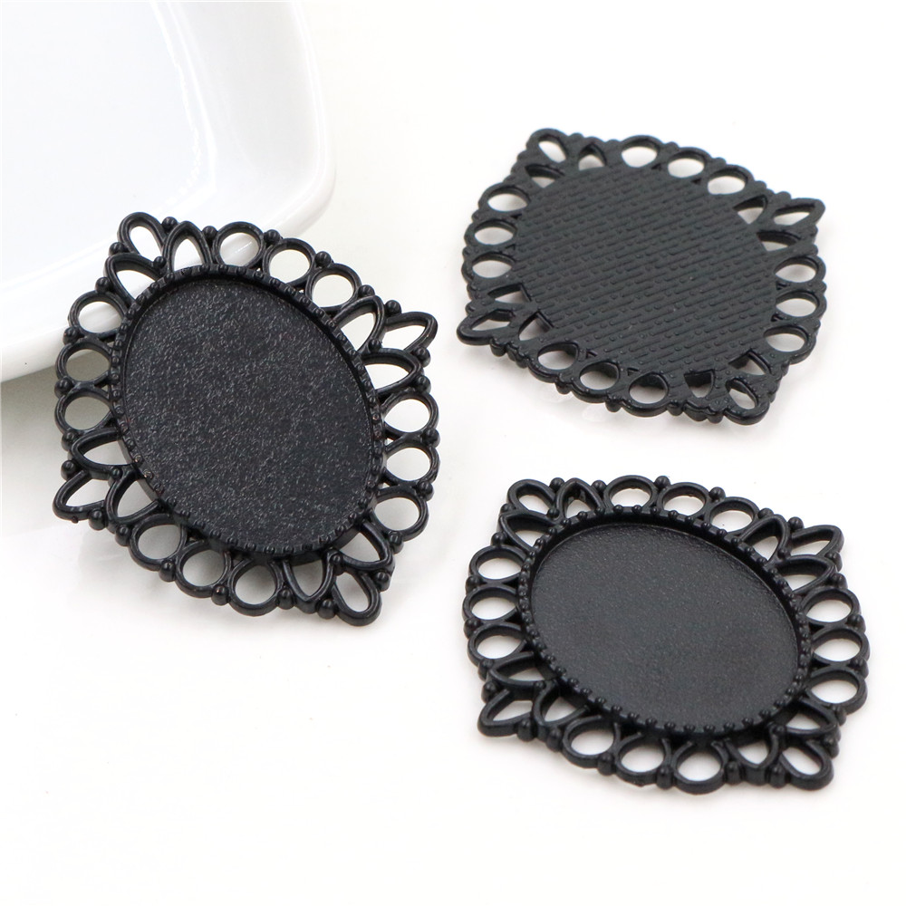 3pcs 18x25mm Inner Size Black Classic Style Cameo Cabochon Base Setting Charms Pendant Necklace Findings  (C1-36)