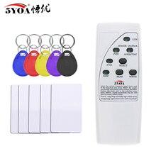 Leitor de cartão portátil rfid, gravador de cartão 125khz, duplicador, etiquetas de identificação, programador com indicador de luz, em4305 t5577, cartão de chave, chave