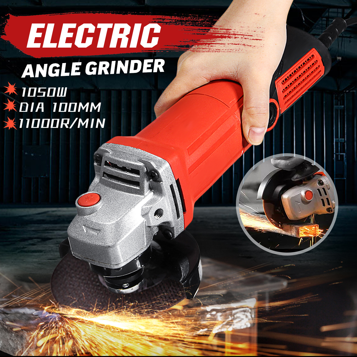 1600W Peaks 220-240V Angle Grinder 11000r/min Electric Grinder Polishing Polisher Grinding Machine Cutting Woodworking Tool