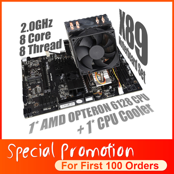 X89 Set Combo For AMD Motherboard G34 Socket with AMD Opteron 6128 CPU + CPU Fan support  DDR3 Memory SATA2 USB 3.0