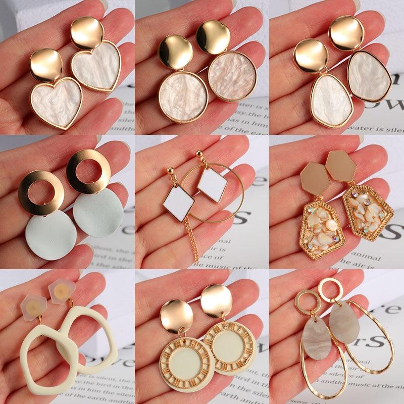 New Korean Statement Earrings for women White Cute Arcylic Geometric Dangle Drop Gold Earings Brincos 2020 Trend Fashion Jewelry