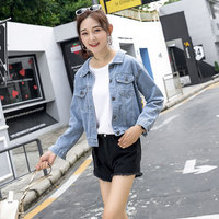 2018 Spring And Autumn New Style Back Bandage Cloth Bow Short College South Korea BF Jeans Coat Women's