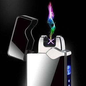 Image 2 - Touch Dual Arc Aansteker Elektronische Usb Opladen Aansteker Roken Elektrische Aansteker Winddicht Metalen Plasma Aanstekers Gift
