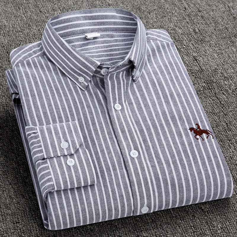 S-6XL Plus size New  OXFORD FABRIC 100% COTTON excellent comfortable slim fit button collar business men casual shirts tops 10