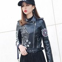 Ailegogo Autumn Women Female Rivets Letters Print Motorcycle Leather Short Women's Biker Coat Faux Leather Jacket Punk Outwear