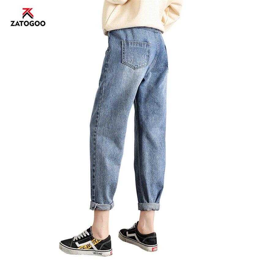 Plus Size Pregnancy Maternity Jeans Black Pants Pregnant Women Slim Trousers Elastic Waist Jeans Nursing Clothes Deep Blue Black