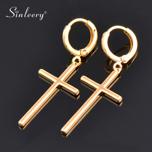 SINLEERY Valentines 2021 Simple Cross Hanging Ear Accessories Gold Color Unusual Earrings For Women Gift To Girlfriend ES054 SSK