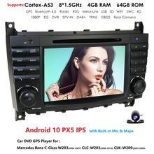 Автомагнитола 2DIN, Android 10, 4 ГБ, 64 ГБ, GPS для Mercedes/Benz W203, W209, W219, W169, A160, C180, C200, C230, C240, CLK200, CLK22