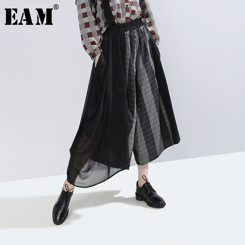 [EAM] High Elastic Waist Black Plaid Wide Leg Long Trousers New Loose Fit Pants Women Fashion Tide Spring Autumn 2019 1H564