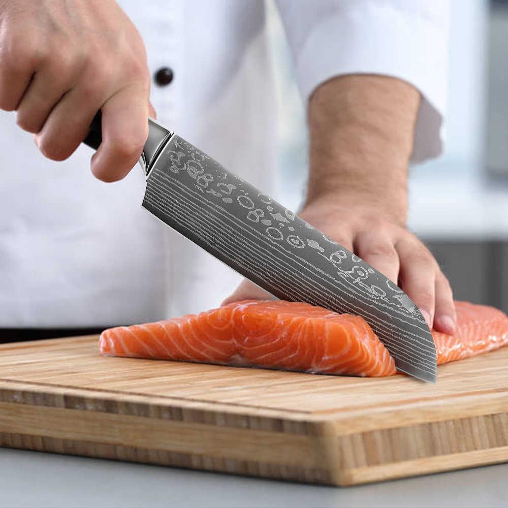 Paslanmaz çelik bıçak seti renk ahşap saplı şef doğrama kemik Cleaver mutfak bıçaklar hediye kapakları ev pişirme araçları