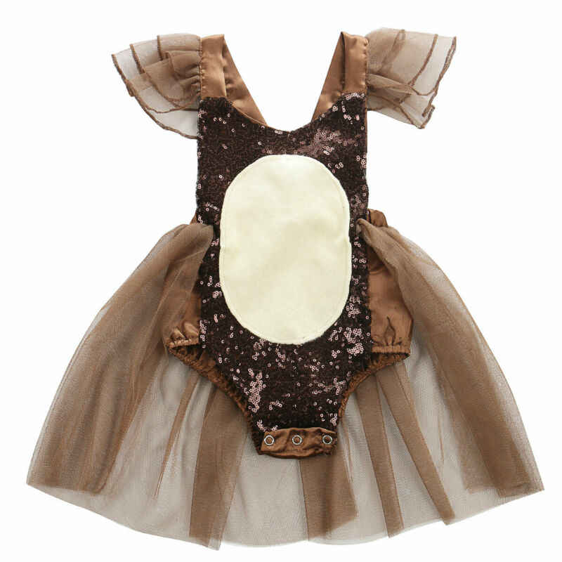 Newborn Baby Girl Shiny Sequins Romper One Piece Sleeveless Jumpsuit Outfit Tutu Skirt Clothes 0-24M