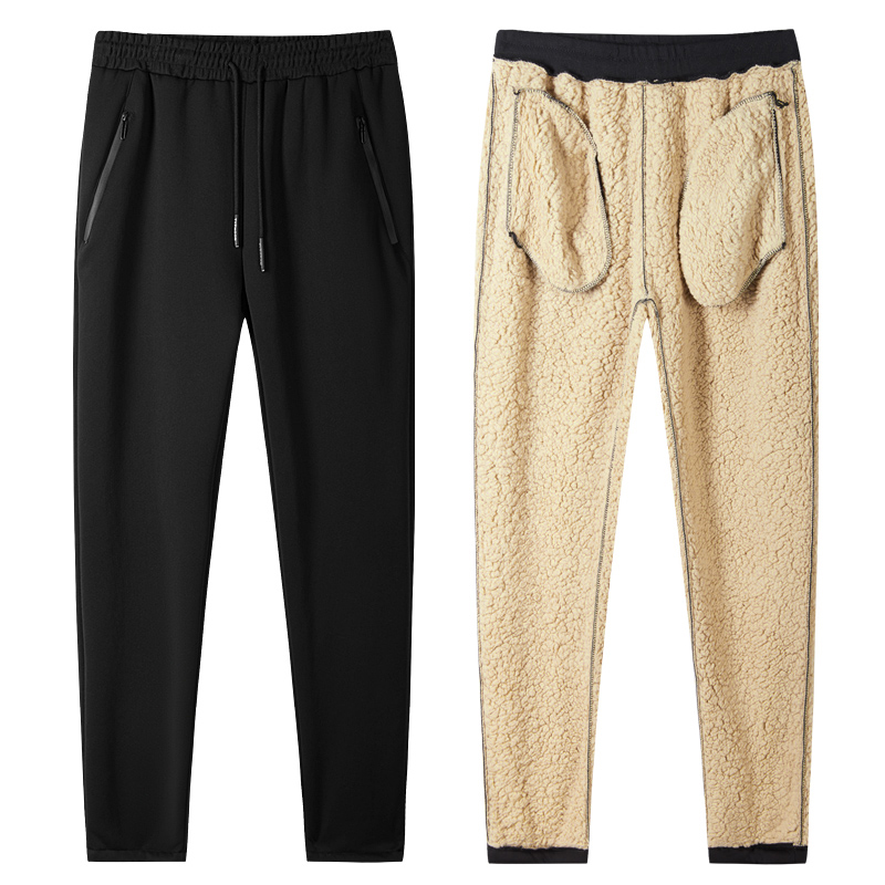 7XL Big Size Winter Thick Fleece Pants Mens Joggers High Waist Sweatpants Men Solid Pants Velvet Men Jogger Casual Pants,ZA295