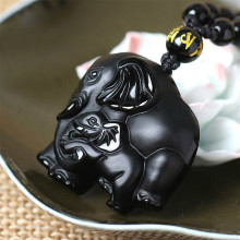 Elephant Natural Black Obsidian Jade Pendant Necklace Chinese Hand-Carved Fine Charm Jewelry Amulet Accessories for Men Women natural black obsidian pixiu safety buckle jade pendant necklace hand carved fashion charm jewelry amulet for men women gifts