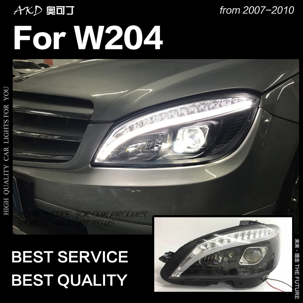 AKD Car Styling Head Lamp For Benz W204 Headlights 2007-2010 C300 C260 C200 LED Headlight LED DRL Hid Bi Xenon Auto Accessories