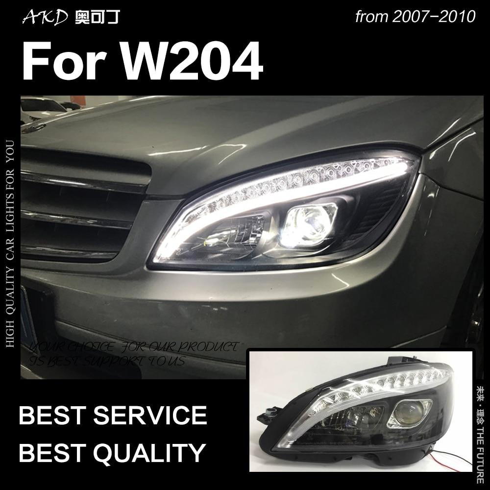 AKD Car Styling Head Lamp For Benz W204 Headlights 2007-2010 C300 C260 C200 LED Headlight LED DRL Hid Bi Xenon Auto Accessories