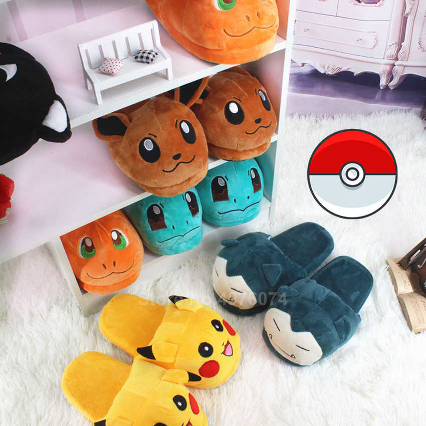 Mann Frauen Anime Cartoon Pokemon Pikachu Snorlax Charmander Squirtle Winter Hausschuhe Warm Halten Plüsch Slip auf Cosplay Schuhe