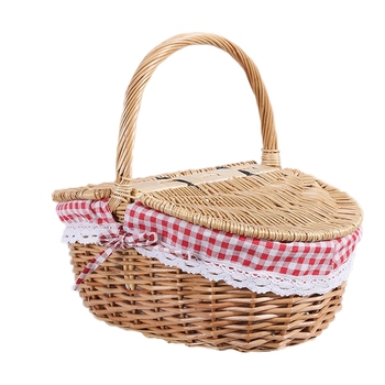 Country Style Wicker Picnic Basket Hamper with Lid and Handle Liners for Picnics Parties and BBQs