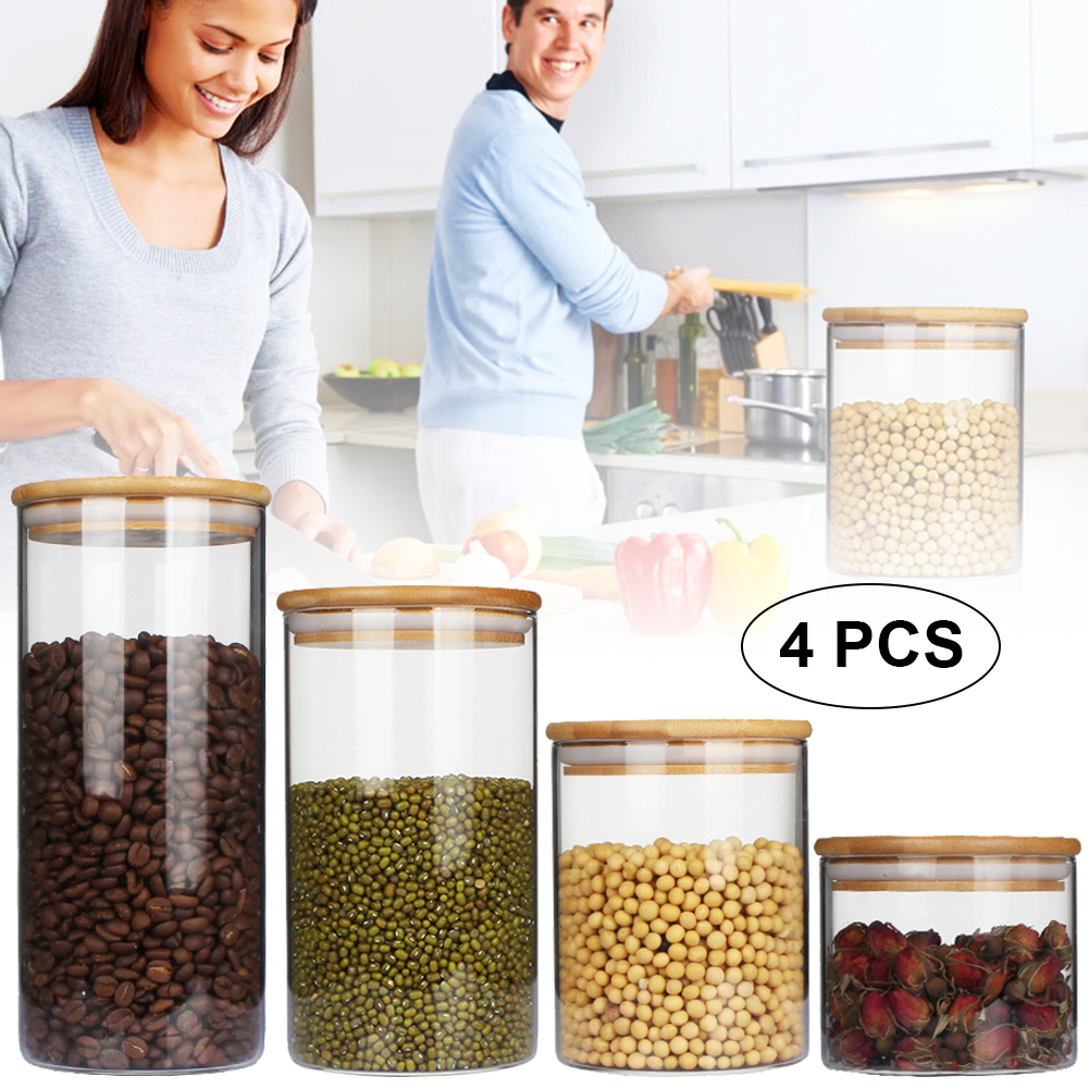 Super Promo #9ad7c - 4pcs Airtight Glass Food Storage Jars ...