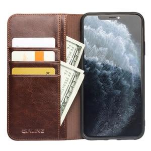 Image 3 - ريترو جلد البقر حقيقية حافظة جلدية ل iPhone11 محفظة حافظة للبطاقات غطاء ذكي الأعمال الوجه جراب هاتف لابل آيفون 11 برو ماكس