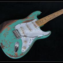 2019 Handmade Heavy Relic Electric Guitar X-NM6 Green Color Nitrolacquer Aged Hardware Alder Body new product 100% handmade relic electric guitar r ty61 heavy relic alder body nitro stain finish
