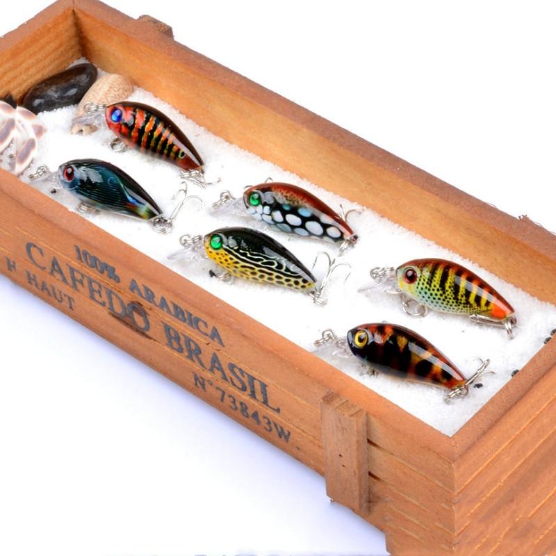 1pcs/Winter trolling Mini float swim hard bait 4.5cm/4g Artificial ABS crankbait wobbler jig Treble hook fishing tackle Pesca
