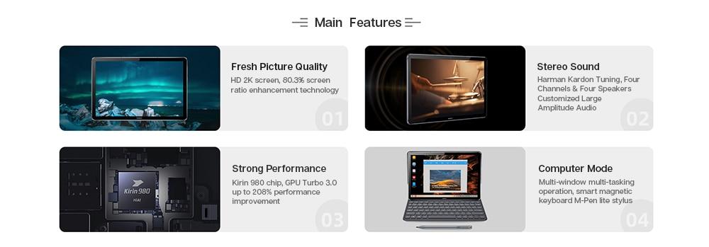 Huawei Mdiapad M6 Tablet Android 10.8 inch WIFI table PC  Kirin 980 Octa Core Android 9.0 Google play 7500mAh Fingerprint ID (1)