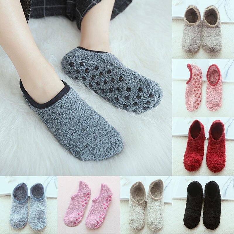Осенне-зимние дышащие нескользящие носки для пола, женские флисовые Носки, домашние носки для девочек, хлопковые Разноцветные носки до щико...