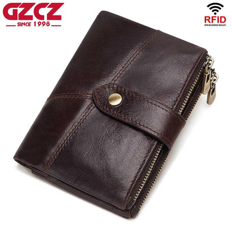 GZCZ RFID Da Thật Chính Hãng Da RFID Ví Nam Ngựa Điên Ví Tiền, Ngắn Nam Túi Tiền Chất Lượng Nhà Thiết Kế Mini Walet nhỏ