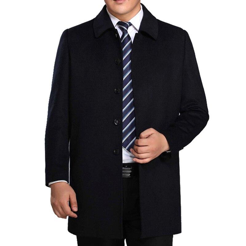 Высокое качество среднего возраста мужская шерстяное пальто, верхняя одежда для мужчин отложной воротник толстые зимние повседневное шерс...