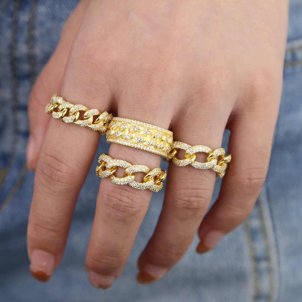US #6 7 8 złoty kolor micro pave wyczyść cyrkonia cz kubański link łańcucha pierścień dla kobiet mężczyzn moda urok hip hop Party biżuteria