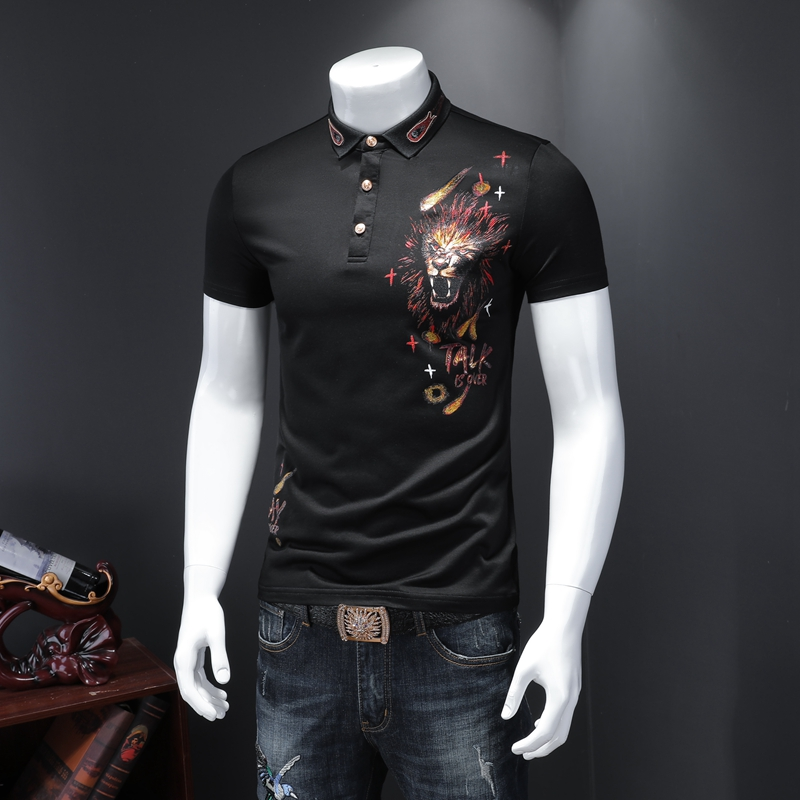 Tiger Pattern Men Polo Shirt 2020 Fashions Quality Cotton Stretch Short Sleeve Plus Size Mens Boss Polo Shirts
