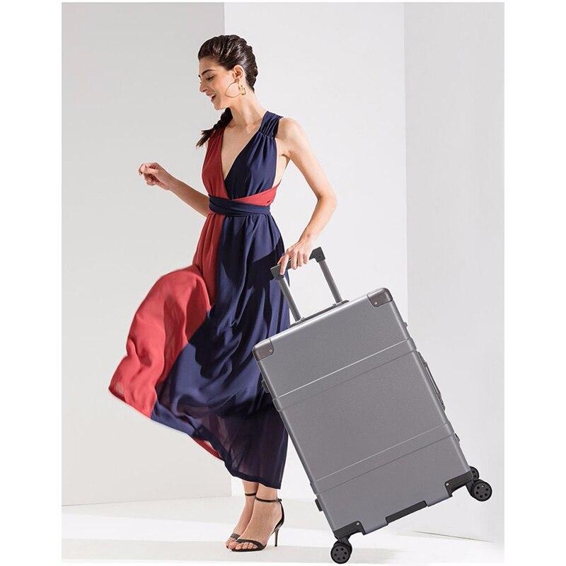 Trolley Hohe Kapazität Aluminium Rahmen Kreative Rollen Gepäck Spinner Koffer Räder Bunte Tragen auf Trolley Reisetasche