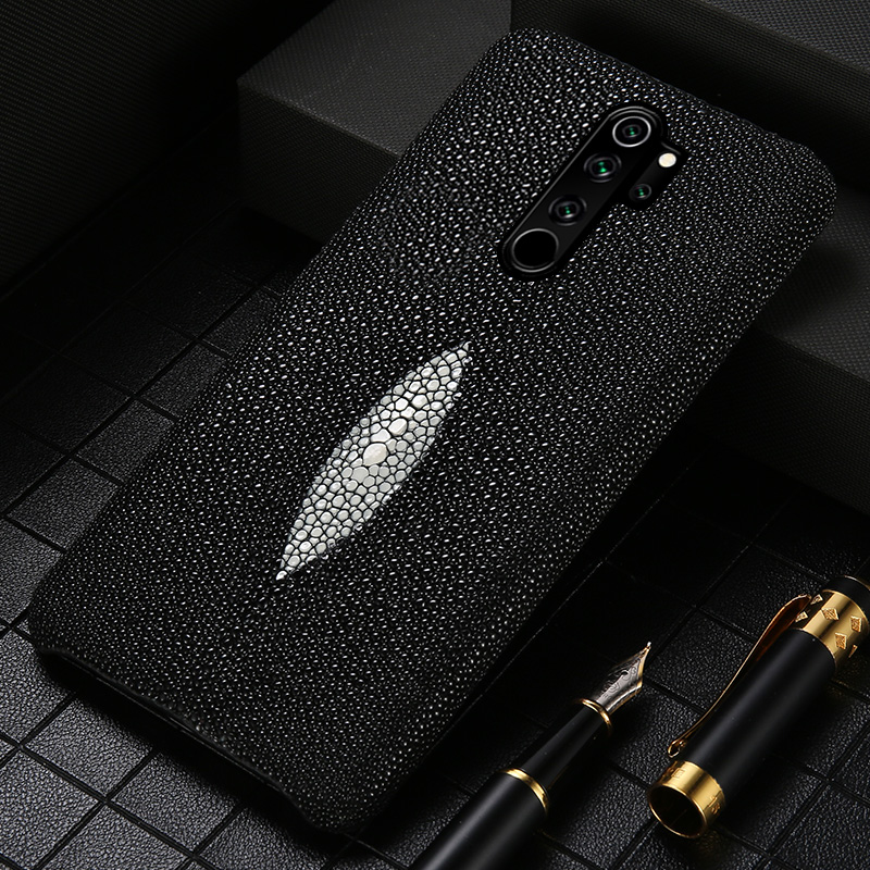 Genuine Pearl Gourami Leather Phone Case For Xiomi Redmi Note 8 Pro 8T 7 8 Cover For Xiaomi Mi 10 Pro 8 9 Lite 9T Note 10 Pro A3