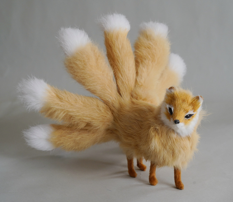 yellow real life red nine-tails fox model plastic&furs cute standing fox doll gift about 30x12.5cm xf2802
