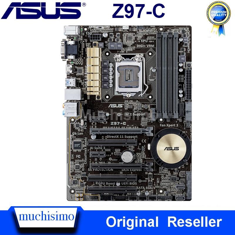 Used LGA 1150 Asus Z97-C Motherboard Intel Z97 DDR3 32GB Cpu Core i3 i5 i7 PCI-E 3.0 Original Desktop Asus Z97-C Mainboard ATX
