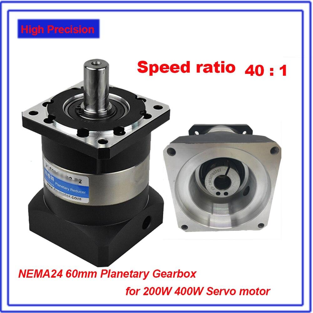 40:1 Ratio Planetary Reducer High Precision Mute 12Arcmin Backlash 14mm Gearbox Reducer for NEMA24 60mm 200W 400W Servo Motor