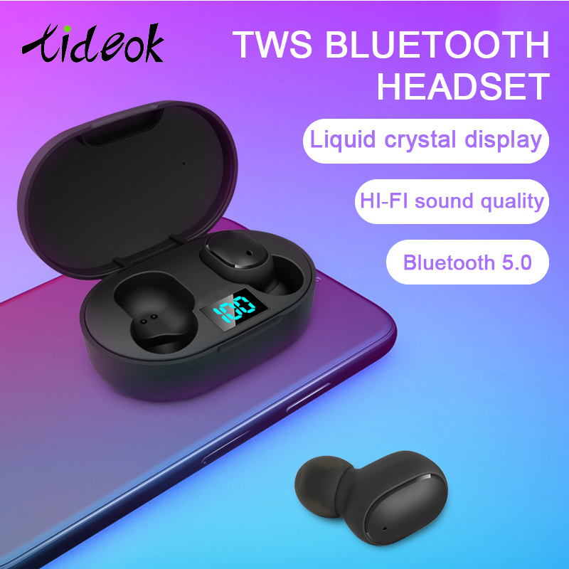 New True Wireless Bluetooth Earphones TWS 5.0 Air Airdots 3D Stereo Earbuds Mini In Ear Dual Mic LED Display With Charging Box