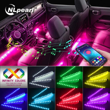 NLpearl APP Car Interior Light Atmosphere Lamp Neon LED Strip Foot Light with USB Wireless Remote Music Control Decorative Lamp