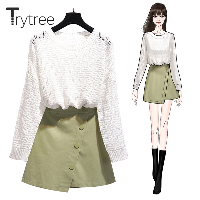 Trytree 2019 Autumn Winter Two Piece Set Casual O-Neck Hollow Out Knitted Top + Skirt Zipper Button Mini Office Lady 2 Piece Set