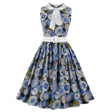 Women's Satin Tie Neck Belt Floral Print Summer Vintage Dress