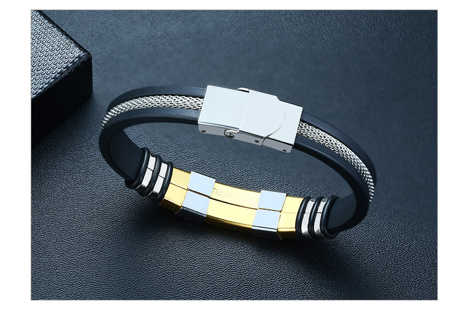 H06873c1b53d24335b69ce67867393698R - Stainless Steel Bracelet Men Wrist Band Black Grooved Rudder Silicone Mesh Link Insert Punk Wristband Stylish Casual Bangle