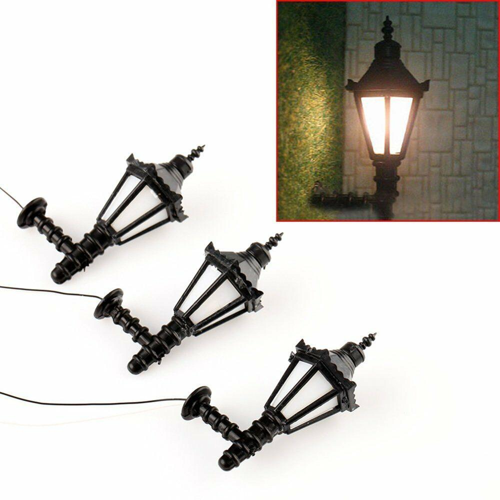10pcs O Scale 1:50 3V Train Railway Park Led Lamppost Lamps Up Wall Lights Model